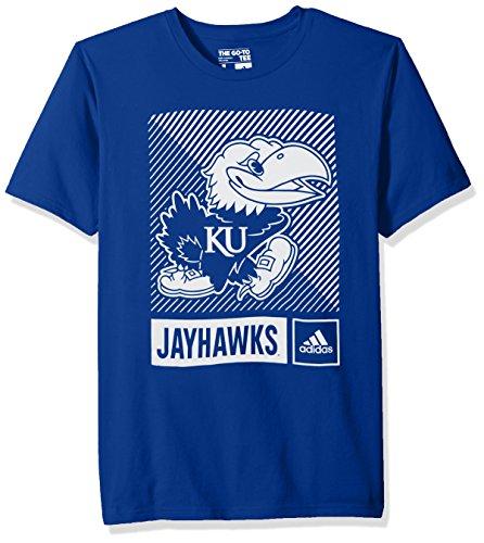 adidas NCAA Kansas Jayhawks Mens Lined Box Go-to S/Teelined Box Go-to S/Tee, Collegiate Royal, Large