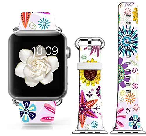 Bands Compatible with Iwatch 40mm/38mm & Cisland Leather Strap Compatible with Apple Watch Series 1/2/3/4 Sport & Edition Beautiful Colorful Creative Personalized Flower Pattern