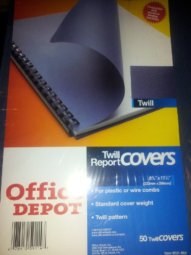 Office Depot(R) Vertical Embossed Paper Binding Covers, 8 3/4in. x 11 1/4in., Navy, Pack Of 50