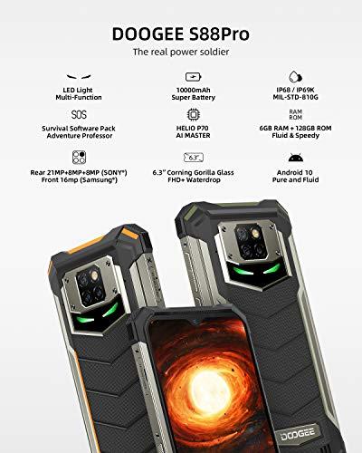 "Telephone Portable Incassable, DOOGEE S88 Pro Smartphone Incassable 4G, 10000 mAh,6.3""FHD, 6Go+128Go, 21MP + 16MP Caméra… 2"