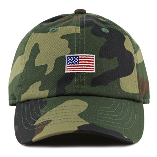 THE HAT DEPOT Kids American Flag Washed Low Profile Cotton and Denim Plain Baseball Cap Hat (2-5yrs, Woodland - Measurements Size Hat