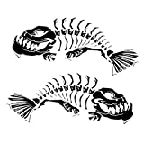 Homyl Set of 2 Car Boat Skeleton Fish Decal Sticker Emblems Graphic Auto Accessory