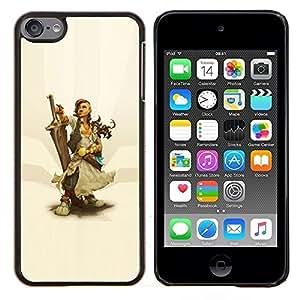 EJOOY---Cubierta de la caja de protección para la piel dura ** Apple iPod Touch 6 6th Touch6 ** --Warrior Woman & Sword