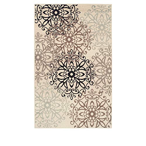 6' X 9' Runner - Blue Nile Mills Contemporary Leigh Collection Area Rug -Modern Area Rug, 8 mm Pile, Floral Medallion Design with Jute Backing