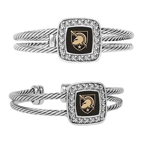 USMA Crystal Studded Cable Cuff Bracelet With Square Pendant \u0027Athena Shield\u0027