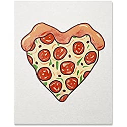 I Love Pizza Heart Art Print Italian Restaurant Food Lover Wall Poster Pepperoni Pizza Illustration Home Decor 8 x 10 inches