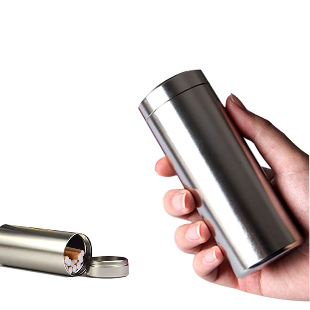 Large Aluminum Cigarette Case Jar - Ehonestbuy Waterproof Round 100's Cigarettes Box Pocket Bottle