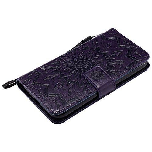 Trumpshop Smartphone Carcasa Funda Protección para Huawei Y3 II [Marrón] 3D Mandala PU Cuero Caja Protector Billetera Choque Absorción [No compatible con Huawei Y3] Púrpura