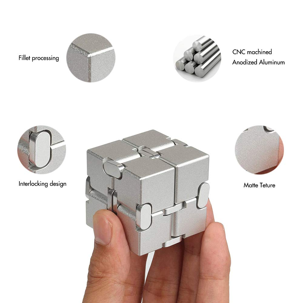 Xtozon Infinity Cube New Version, Aluminum Metal Fidget Finger Cube Toys - Office Decompression Toys Prime for Stress and Anxiety Relief/ADHD, Gifts for Adult and Kids, Cool Stuff. by Xtozon (Image #3)