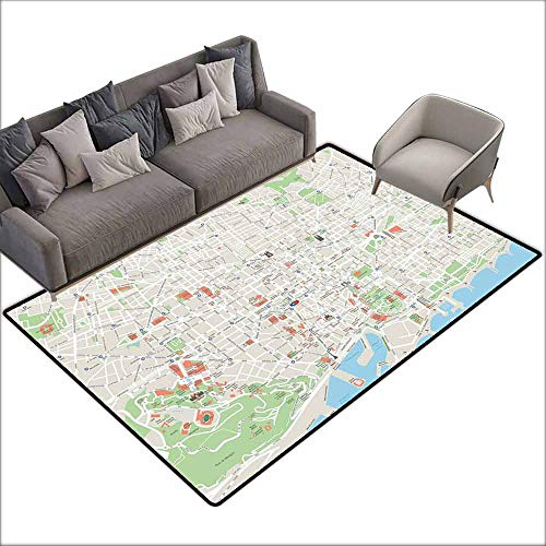 Room Bedroom Floor Rug Map Map of Barcelona City Streets Parks Subdistricts Points of Interests Non-Slip Door mat pad Machine can be Washed W5' x L6'10 Beige Lime Green Light Blue