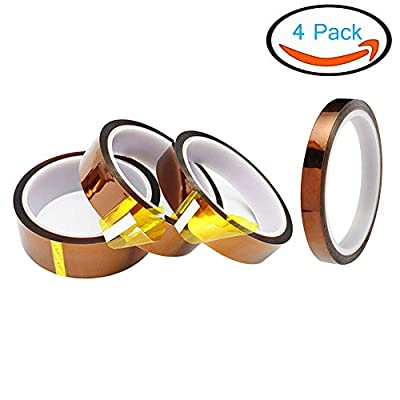 BestTong Kapton Polyimide Heat High Temperature Resistant Adhesive Gold Tape For Electric Task, 3D Printer Platform, BGA Heating, Soldering Task [Amber, Wide: 10mm, 15mm, 20mm, 25mm, 2MIL]