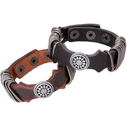 [Bishilin Pu Leathernk Rock Punk Punk Retro Black Leather Cuff Wrap Bangle Bracelets] (Diy Woman Wolf Costume)