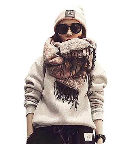 Gifts for Women Christmas Scarves Winter Leopard Tassel Cotton Linen Color Block Scarf Shawl Wrap Cover HunYUN for $<!--$13.32-->
