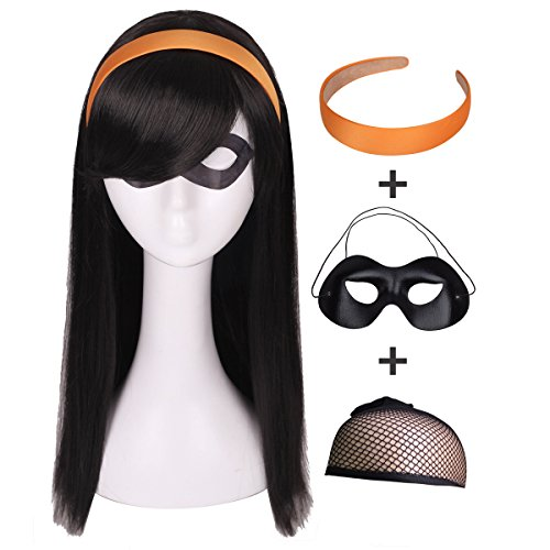 ColorGround Kids Long Straight Black Natural Cosplay Wig with Orange Headband and Eye Mask -