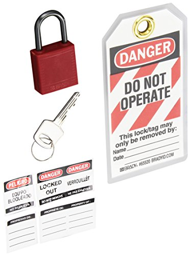 (Brady Compact Lockout Tagout Padlock Personal Safety Kit - 123143 - Red)
