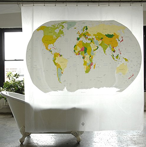 Izola PEVA Water and Mold Resistant Shower Curtain - World Map
