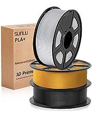 SUNLU 3D PLA Plus filament 1.75, PLA+ Filament 1.75mm, 3KG PLA+ Filament for 3D Printer 3D Pens, Black+Light Gold+ Silver