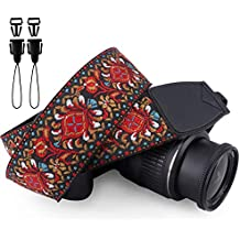 Wolven Vintage Jacquard Weave Camera Neck Shoulder Strap Belt Compatible for All DSLR/SLR/Digital Camera (DC)/Instant Camera/Polaroid etc, Red Classic Floral