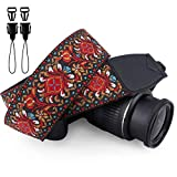 Wolven Vintage Jacquard Weave Camera Neck Shoulder Strap Belt for All DSLR/SLR/Digital Camera (DC)/Instant Camera/Polaroid etc, Red Classic Floral