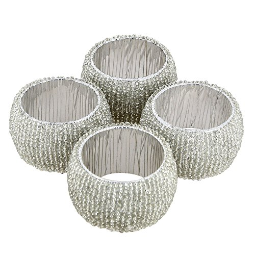 Handmade Indian Silver Beaded Napkin Rings - Set of 4 Rings