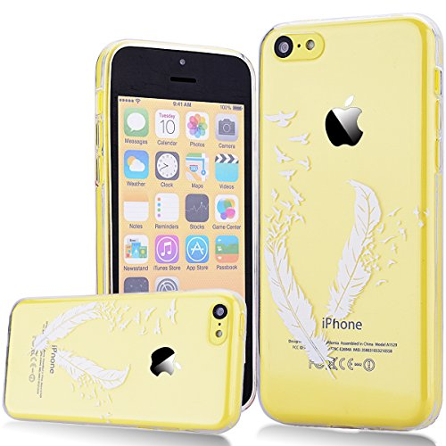We Love Case Silicone Étui TPU Coque pour Apple iPhone 5C Plume Blanche Transparent Housse de Protection Soft Shell Mode Original Coque Strass Case Swag Souple Gel Etui Cas de Couverture