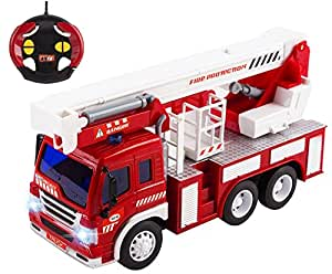 Remote Control Toy Fire Truck RC Truck 1:16 Four Channel Full Function w/ Lights & Music Battery Powered RC Truck Toy