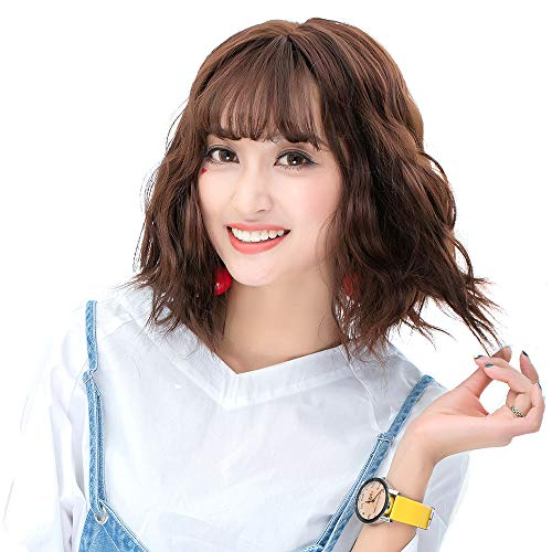 COOLSKY Short Curly Wig with Air Bangs Daily Fluffy Realistic Corn Hot Short Hair Lolita Air Bangs Harajuku Cosplay Wig Synthetic Wig Halloween Wigs Cosplay Costume Party Chocolate Color 32cm]()