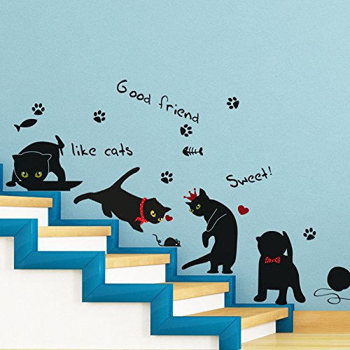 FangKuai FKAL0759 Personality Wall Sticker Gatos Black Cat Ram's Horn Quote For Stairs Home Decor/Furniture Sticker Adesivo De Parede