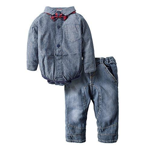 3 Piece Denim Outfit (Big Elephant Baby Boys' 3 Piece Long Sleeve Jeans Denim Clothing Set H63,Blue,6-12 Months)