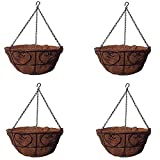 MTB Garden Hanging Baskets for Plants 14''-Heart Style with Coco-Liner, Pack of 4 Hanging Planter