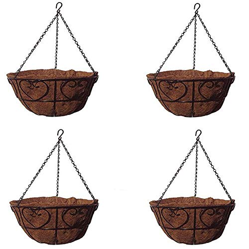 MTB Garden Hanging Baskets for Plants 14''-Heart Style with Coco-Liner, Pack of 4 Hanging Planter by MTB