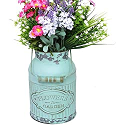 APSOONSELL Shabby French Style Country Rustic Primitive Jug Vase Metal Pitcher Flower Vase for Wedding Party Decoration