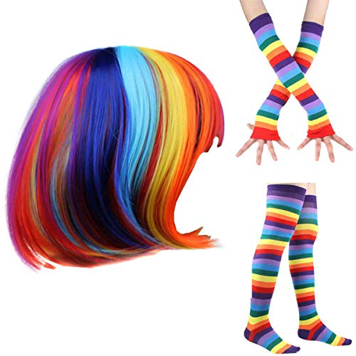 Women's Rainbow Wave Wig Long Gloves Socks 8Layered Tail Tutu Skirt Floral Headband Set (D)