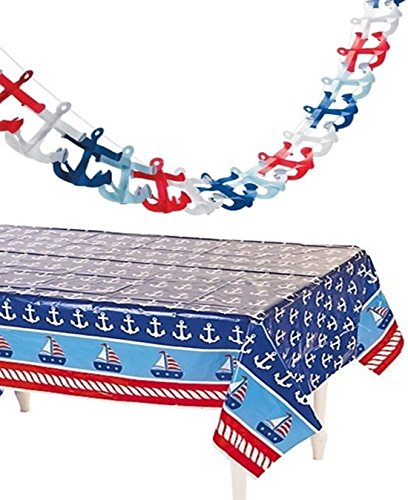 happy deals Nautical Tablecloth and Tissue Anchor Garland Set - Nautical Party Decorations -