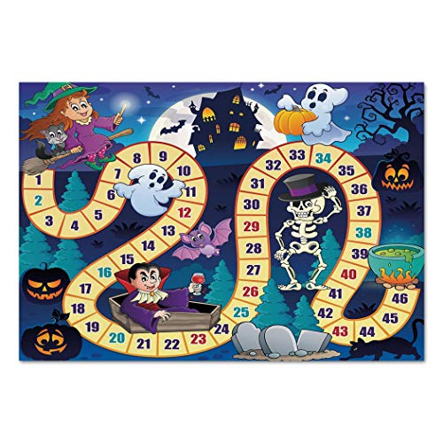 Large Wall Mural Sticker [ Board Game,Halloween Theme Symbols Happy Witch Girl Vampire Ghost Pumpkins Happy Comic,Multicolor ] Self-adhesive Vinyl Wallpaper / Removable Modern Decorating Wall Art ()