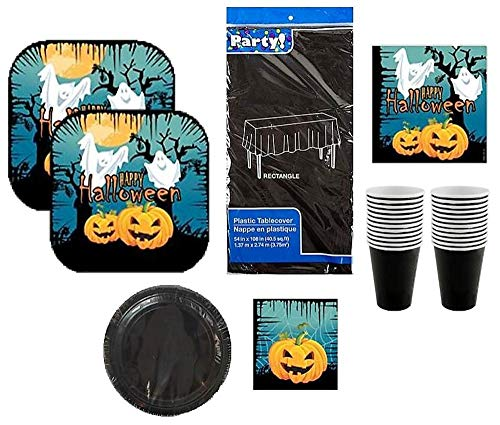 Halloween Themed Party Pack | Ghost & Pumpkin Plates, Napkins, Cups, Tablecover | 6 Items Serves 16 -