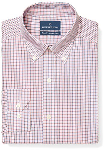 Buttoned Down Men's Tailored Fit Button-Collar Pattern Non-Iron Dress Shirt, Berry/Red/Navy Small Tatersol, 15