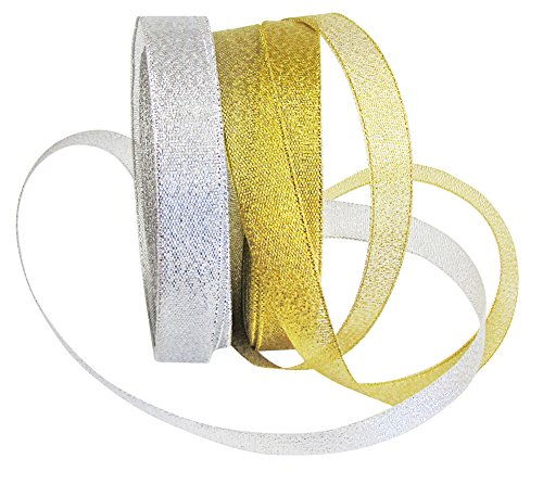 Hipgirl Silver Metallic Ribbon, Glitter Gold Ribbon for Crafts. Non-Wired Ribbon for Gift Wrapping, Christmas Tree Garlands, Gift Ribbon Bows - (25yd 5/8