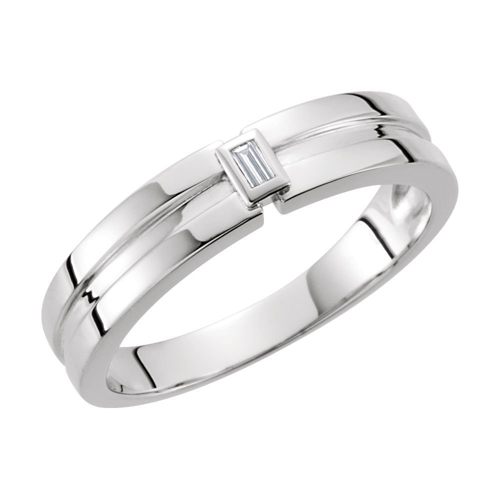White-gold Diamond 4.85mm Grooved Band