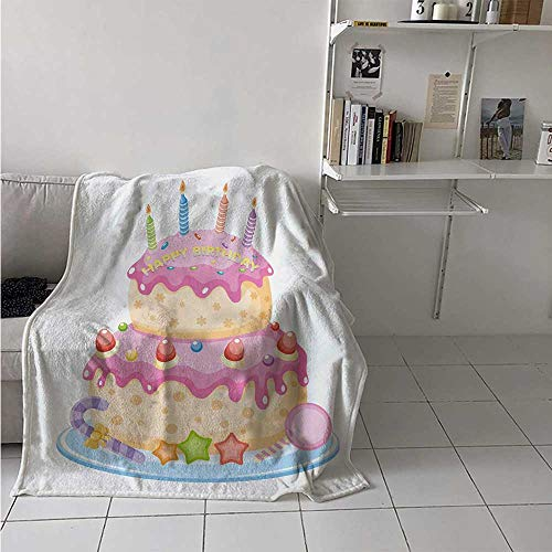 maisi Kids Birthday Throw Blanket Pastel Colored Birthday Party Cake with Candles and Candies Celebration Image Velvet Plush Throw Blanket 60x36 Inch Pale Pink ()