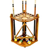 Iszy Billiards 10 Cue Stick and Pool Table Ball Floor Rack, Oak