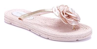 Schuhtempel24 Damen Schuhe Zehentrenner Sandalen Sandaletten Rosa Flach Blumenapplikation/Ziersteine/Glitzer F0G2P68es