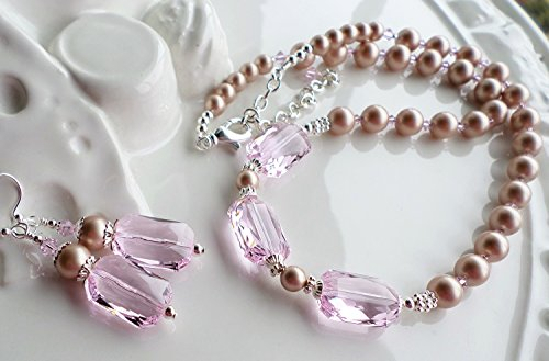 Champagne Pearl Pink Swarovski Crystal Necklace Earrings Set by H&H Jewelry Designs