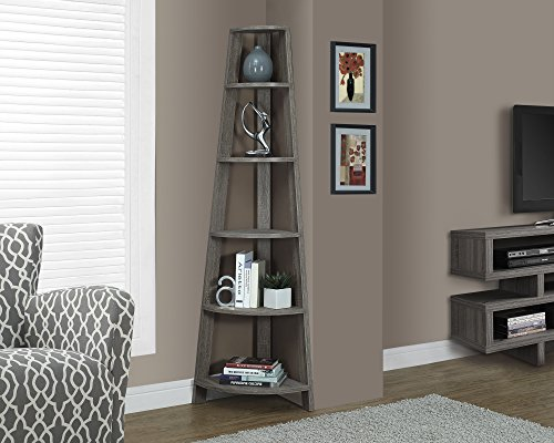 Monarch Specialties I 2497 Dark Taupe Reclaimed-Look Corner Accent Etagere, 72