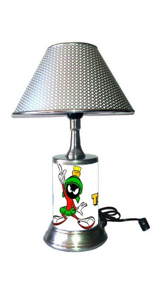 JS Marvin The Martian Lamp with chrome shade, Looney Tunes