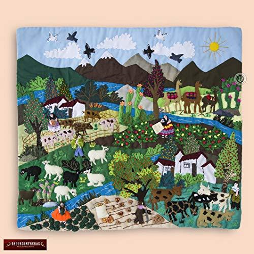 "Wall Hanging Quilt 17.7""x19.7"", Peru textiles, 3D peruvian textile artwork, Embroidered appliques of fabric, Arpillera art work tapestrie"