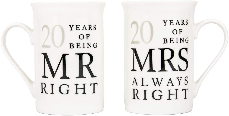 Haysoms Ivory 20th Anniversary Mr Right & Mrs Always Right Ceramic Mugs Gift Set Thoughtful and Unique Gift Idea Dishwasher and Microwave Safe