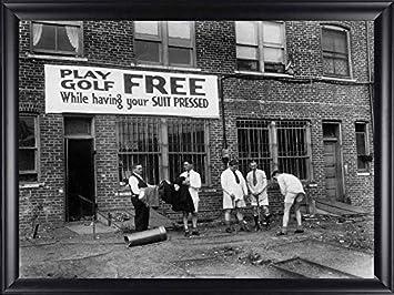 Poster Free Golf 1930 Framed Vintage Black and White Photo Finished Size 32×26