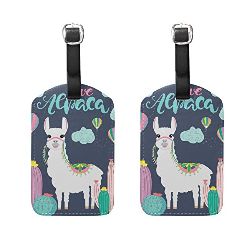 Travel Luggage Tags Love Alpaca PU Leather Baggage Suitcase Tag Identify 2 Pieces