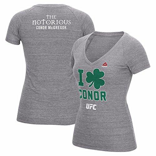 Conor McGregor UFC Reebok Grey 189 I Clover Conor Tri-Blend T-Shirt For Women (2XL)
